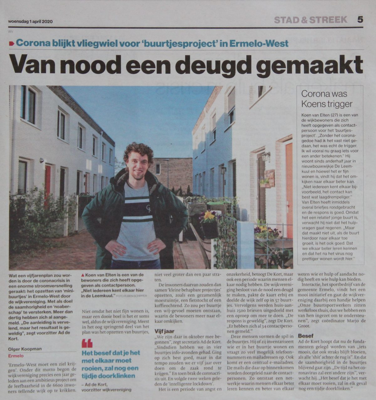 Artikel in De Stentor over Buurtjesproject